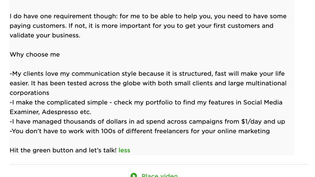 freelance digital marketing upwork profile example 3