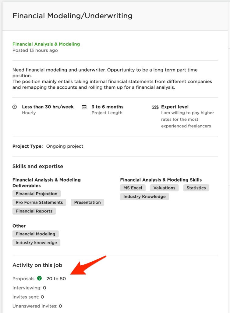 upwork proposal sample - financial project example