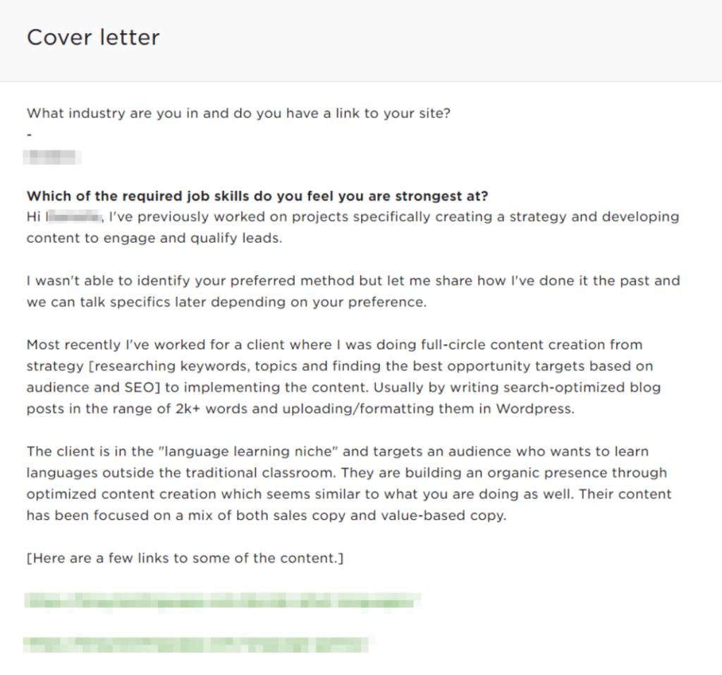 copywriting job proposal