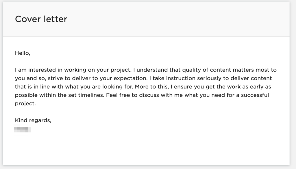 Upwork - bad proposal cover letter example 1 - why do you think you are a good fit for this particular project?