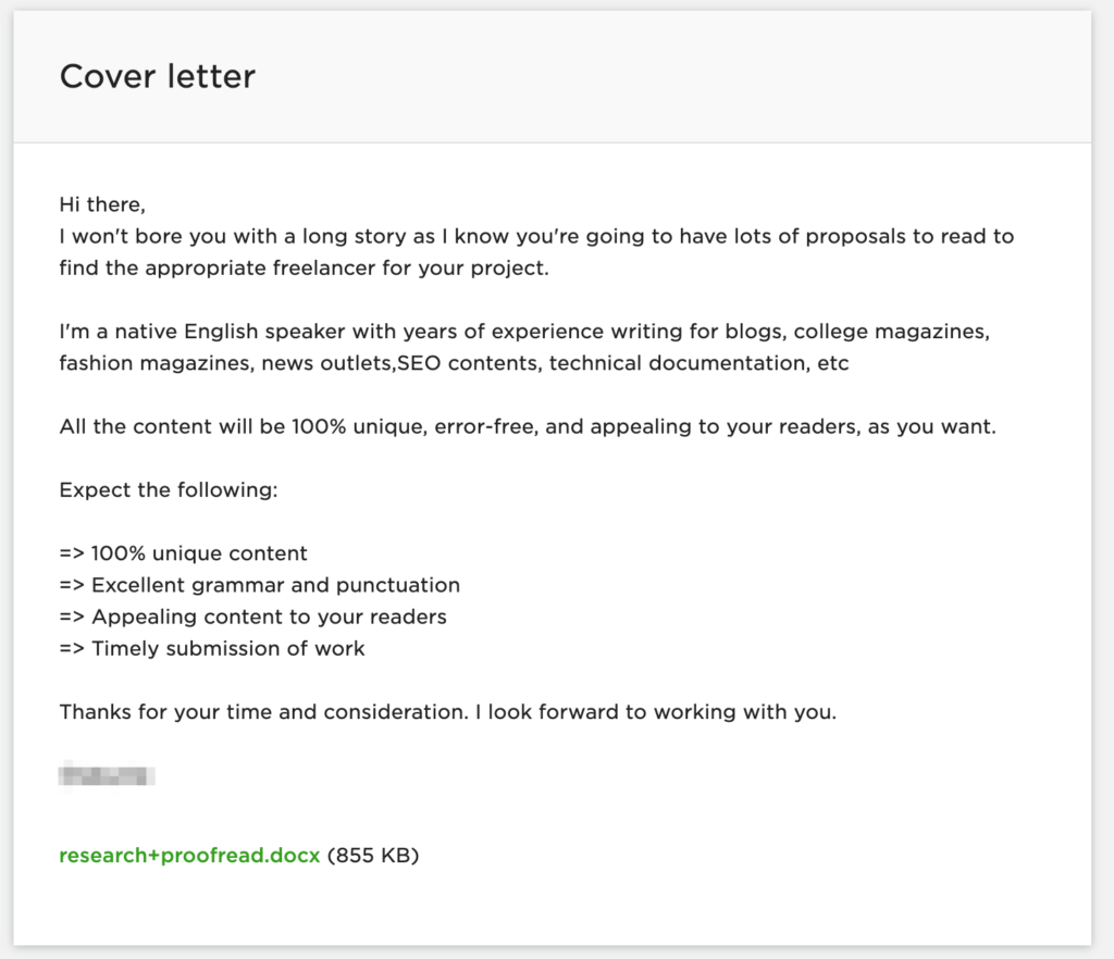 Upwork - bad cover letter example 2