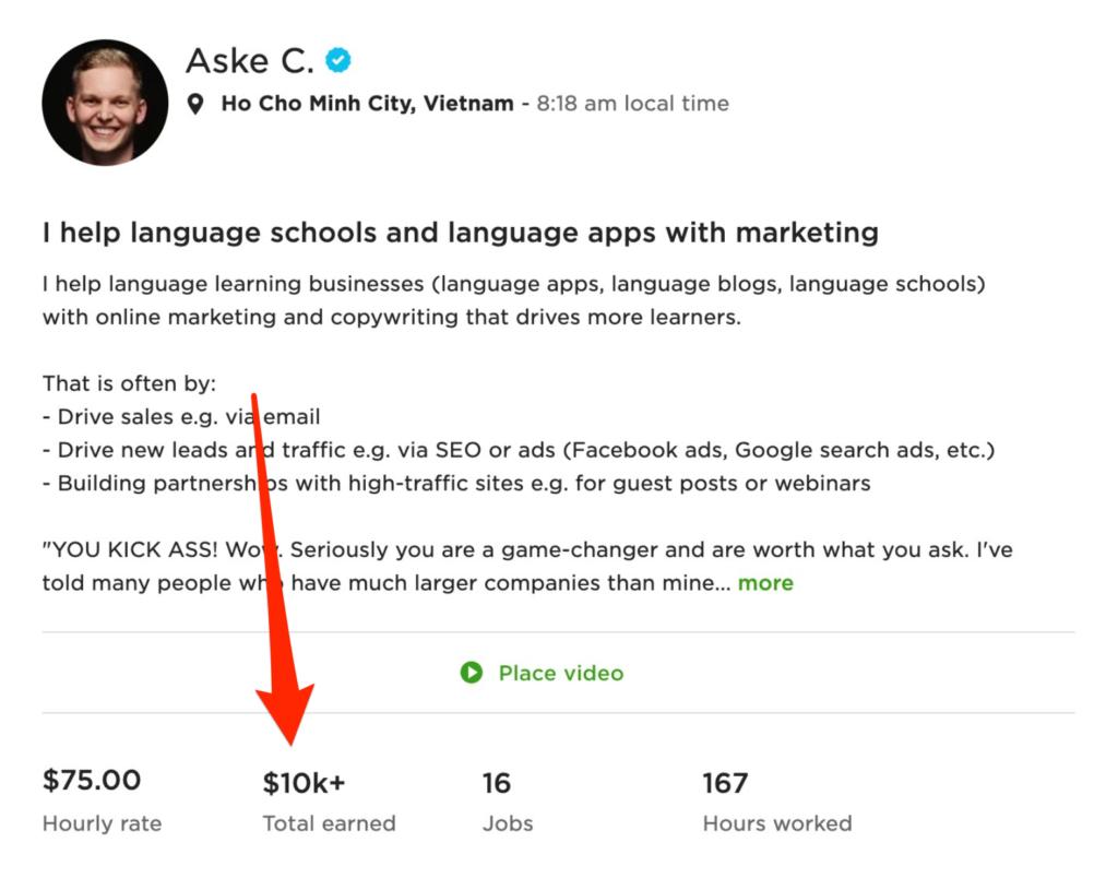 Best freelance website for beginners - upwork example