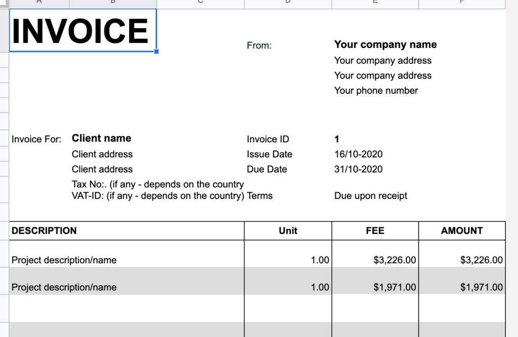 invoice for freelance work