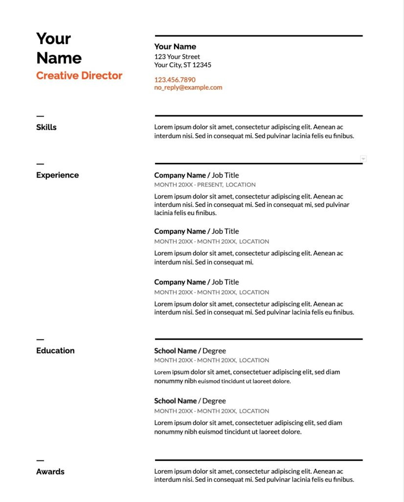 freelance resume example 1