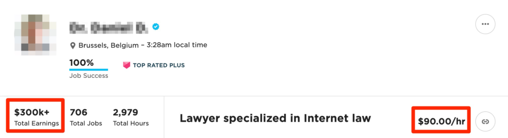 how much can you make on Upwork - lawyer example