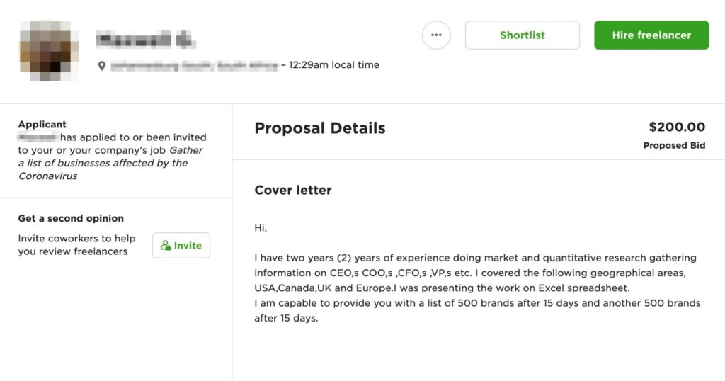 cover letter upwork example - template