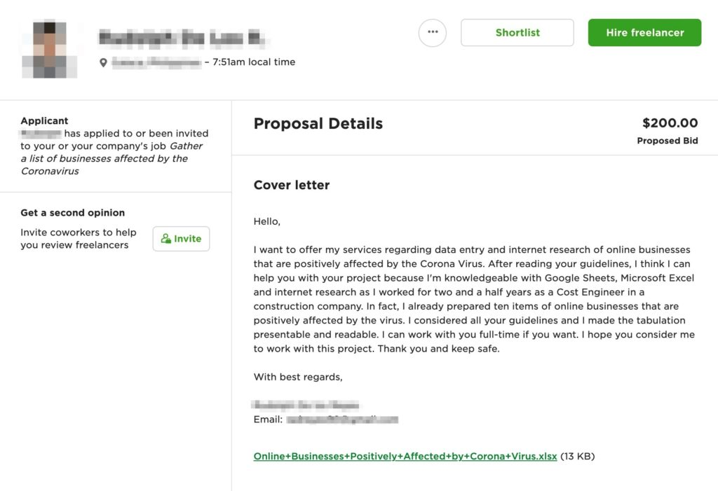 winning cover letter upwork example