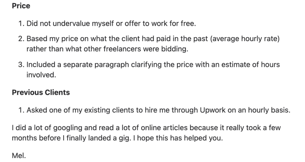 quora upwork proposal recommendations
