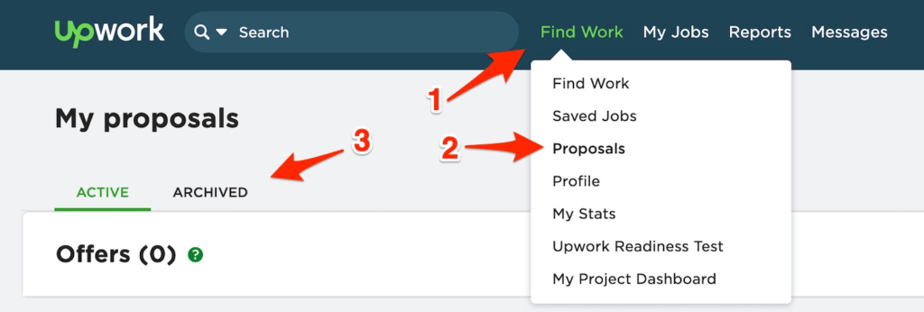 upwork proposal - finding your archived proposals