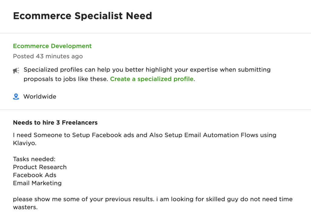 What challenging part of this job are you most experienced in - upwork answer example