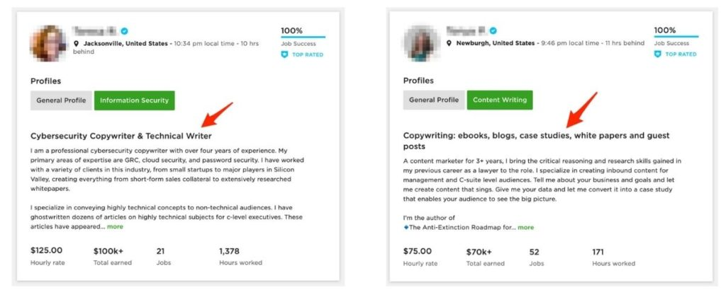 Upwork profile title examples - copywriting