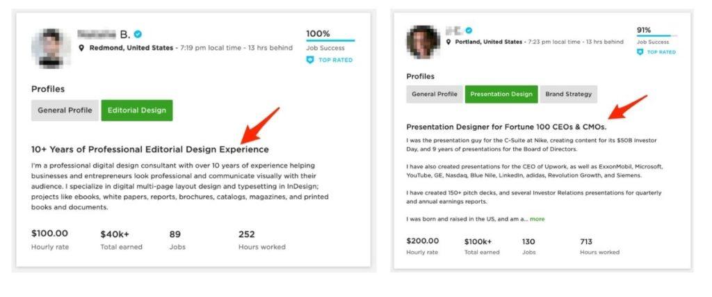 Upwork profile title examples - graphic design