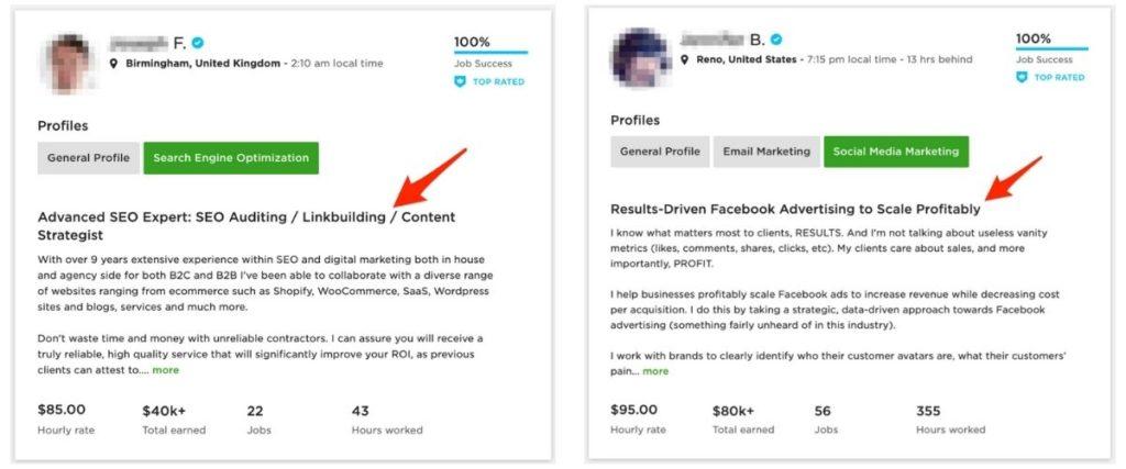 Upwork profile title examples - digital marketing